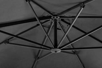 Schneider Sonnenschirm Rhodos Twist, anthrazit, ca. 300 x 300 cm, 8-teilig, quadratisch - 7