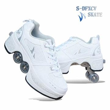 SDFXCV Inline-Skates 2-in-1-Mehrzweckschuhe Rollschuhe Multifunktionale Verformungsschuhe Quad-Skate-Outdoor-Skating-Wanderschuhe, Geeignet Für Erwachsene Und Kinder,White-31 - 1