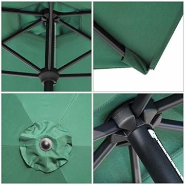 Sekey 2.7m Aluminium Sonnenschirm Marktschirm Gartenschirm Terrassenschirm Rund Sonnenschutz UV50+,Grün - 5