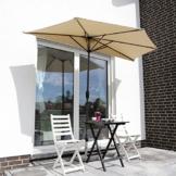 Sekey 2.7m halb-runder Sonnenschirm/Marktschirm/Terrassen-Schirm mit Kurbel für Garten, Terrassen, Höfe, Schwimmbäder, mit 5 Stahlverstrebungen, 100% Polyester Schirm, UV 50+,Taupe - 1
