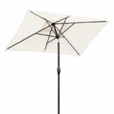 Sekey® 200 × 125 cm Sonnenschirm Marktschirm Gartenschirm Terrassenschirm Sonnenschutz UV 50+ Creme Rechteckig - 1