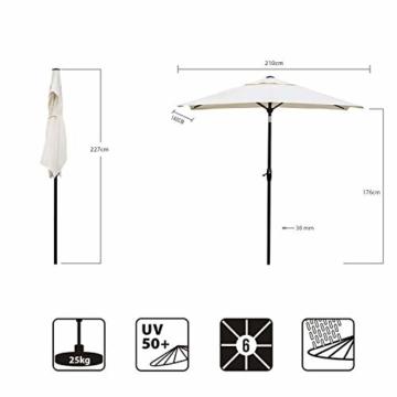 Sekey® 200 × 125 cm Sonnenschirm Marktschirm Gartenschirm Terrassenschirm Sonnenschutz UV 50+ Creme Rechteckig - 5