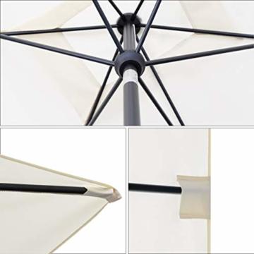 Sekey® 200 × 125 cm Sonnenschirm Marktschirm Gartenschirm Terrassenschirm Sonnenschutz UV 50+ Creme Rechteckig - 8