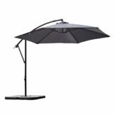 Sekey® Ampelschirm 300 cm Sonnenschirm Gartenschirm Kurbelschirm mit Kurbelvorrichtung Sonnenschutz UV50+ (GRAU) - 1