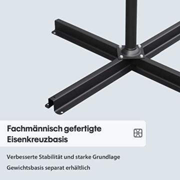 Sekey® Ampelschirm 300 cm Sonnenschirm Kurbelschirm Taupe mit Kurbelvorrichtung Sonnenschutz, UV50+ - 2