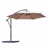 Sekey® Ampelschirm 300 cm Sonnenschirm Kurbelschirm Taupe mit Kurbelvorrichtung Sonnenschutz, UV50+ - 1