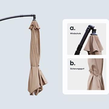 Sekey® Ampelschirm 300 cm Sonnenschirm Kurbelschirm Taupe mit Kurbelvorrichtung Sonnenschutz, UV50+ - 4
