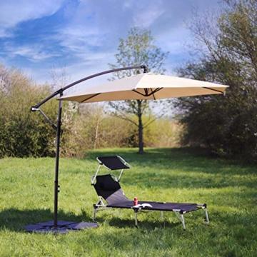 Sekey® Ampelschirm 300 cm Sonnenschirm Kurbelschirm Taupe mit Kurbelvorrichtung Sonnenschutz, UV50+ - 5