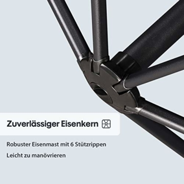 Sekey® Ampelschirm 300 cm Sonnenschirm Kurbelschirm Taupe mit Kurbelvorrichtung Sonnenschutz, UV50+ - 6