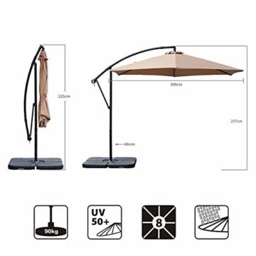 Sekey® Ampelschirm 300 cm Sonnenschirm Kurbelschirm Taupe mit Kurbelvorrichtung Sonnenschutz, UV50+ - 7
