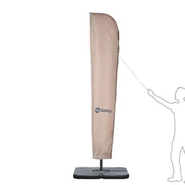 Sekey® Schutzhülle für Ampelschirm/Sonnenschirm,Abdeckhauben für Sonnenschirm, 100% Polyester, Taupe - 2