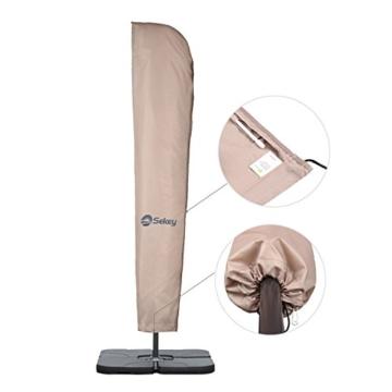 Sekey® Schutzhülle für Ampelschirm/Sonnenschirm,Abdeckhauben für Sonnenschirm, 100% Polyester, Taupe - 6