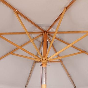 Sekey® Sonnenschirm 300 cm Holz-Sonnenschirm Marktschirm Gartenschirm Terrassenschirm Taupe Rund UV50+ - 2