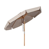 Sekey® Sonnenschirm 300 cm Holz-Sonnenschirm Marktschirm Gartenschirm Terrassenschirm Taupe Rund UV50+ - 1