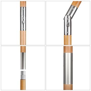 Sekey® Sonnenschirm 300 cm Holz-Sonnenschirm Marktschirm Gartenschirm Terrassenschirm Taupe Rund UV50+ - 3