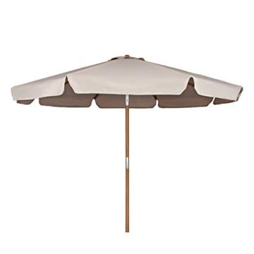 Sekey® Sonnenschirm 300 cm Holz-Sonnenschirm Marktschirm Gartenschirm Terrassenschirm Taupe Rund UV50+ - 5