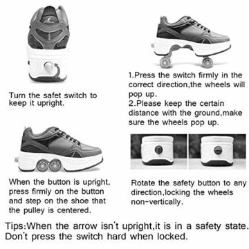 SHANGN Inline-Skate, 2-in-1-Mehrzweckschuhe, Verstellbare Quad-Rollschuh-Stiefel,White-39 - 3