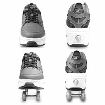 SHANGN Inline-Skate, 2-in-1-Mehrzweckschuhe, Verstellbare Quad-Rollschuh-Stiefel,White-39 - 5