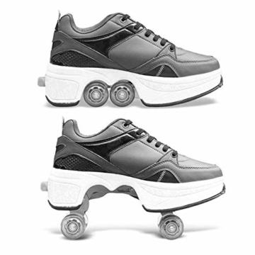 SHANGN Inline-Skate, 2-in-1-Mehrzweckschuhe, Verstellbare Quad-Rollschuh-Stiefel,White-38 - 4