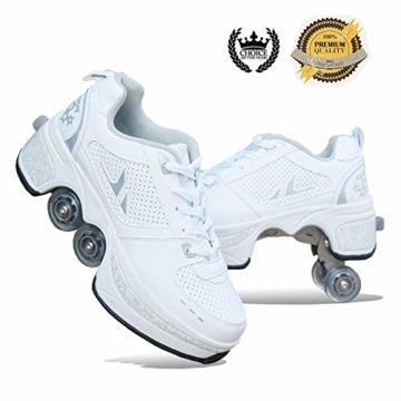 SHANGN Inline-Skate, 2-in-1-Mehrzweckschuhe, Verstellbare Quad-Rollschuh-Stiefel,White-38 - 1