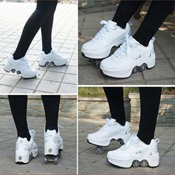 SHANGN Inline-Skate, 2-in-1-Mehrzweckschuhe, Verstellbare Quad-Rollschuh-Stiefel,White-38 - 7