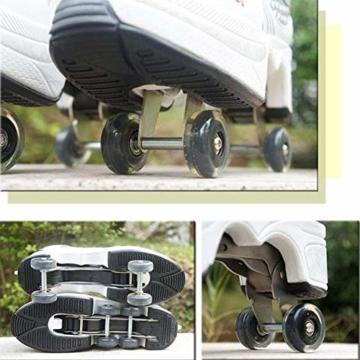 SHANGN Inline-Skate, 2-in-1-Mehrzweckschuhe, Verstellbare Quad-Rollschuh-Stiefel,White-38 - 8