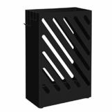SONGMCIS Regenschirmständer, Schirmständer, rechteckig, aus Metall, mit Haken und Wasserauffangschale, Cutout-Design, schwarz LUC03BK - 1