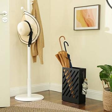 SONGMCIS Regenschirmständer, Schirmständer, rechteckig, aus Metall, mit Haken und Wasserauffangschale, Cutout-Design, schwarz LUC03BK - 3