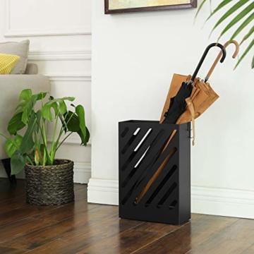 SONGMCIS Regenschirmständer, Schirmständer, rechteckig, aus Metall, mit Haken und Wasserauffangschale, Cutout-Design, schwarz LUC03BK - 4