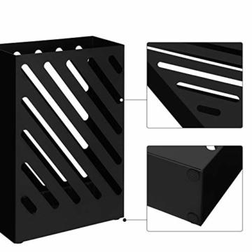 SONGMCIS Regenschirmständer, Schirmständer, rechteckig, aus Metall, mit Haken und Wasserauffangschale, Cutout-Design, schwarz LUC03BK - 6