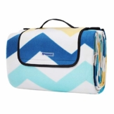 SONGMICS Picknickdecke, 200 x 200 cm, große Stranddecke, für Outdoor, Camping, Park, Garten, wasserfeste Unterseite, faltbar, blaue Wellen GCM70YU - 1
