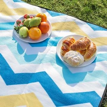 SONGMICS Picknickdecke, 200 x 200 cm, große Stranddecke, für Outdoor, Camping, Park, Garten, wasserfeste Unterseite, faltbar, blaue Wellen GCM70YU - 6