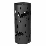 SONGMICS Regenschirmständer aus Metall, runder Schirmständer, Wasserauffangschale herausnehmbar, mit Haken, 49 x Ø 19,5 cm, Schwarz LUC23B - 1