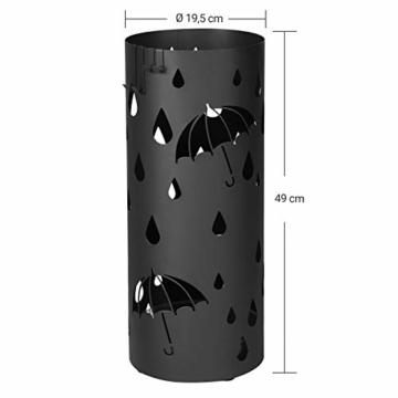 SONGMICS Regenschirmständer aus Metall, runder Schirmständer, Wasserauffangschale herausnehmbar, mit Haken, 49 x Ø 19,5 cm, Schwarz LUC23B - 4