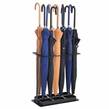 SONGMICS Schirmständer aus Metall, Regenschirmständer mit stabilem Eisensockel, 6 Öffnungen, abnehmbare Abtropfschale, 40 x 21 x 42 cm, schwarz LUC60BK - 2