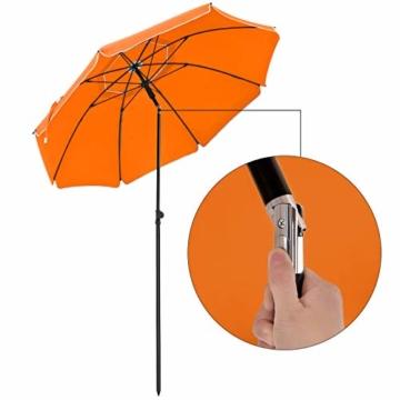 SONGMICS Sonnenschirm, 200 cm, Sonnenschutz, achteckiger Strandschirm aus Polyester, Schirmrippen aus Glasfaser, knickbar, mit Tragetasche, Garten, Balkon, Schwimmbad, Orange GPU65OGV1 - 3