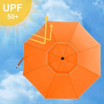 SONGMICS Sonnenschirm, 200 cm, Sonnenschutz, achteckiger Strandschirm aus Polyester, Schirmrippen aus Glasfaser, knickbar, mit Tragetasche, Garten, Balkon, Schwimmbad, Orange GPU65OGV1 - 4