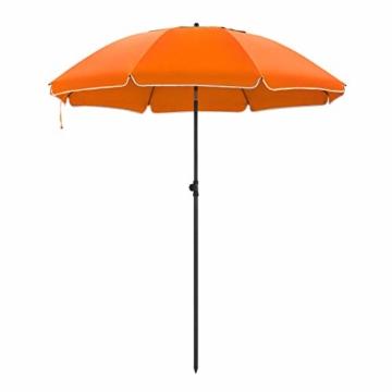 SONGMICS Sonnenschirm, 200 cm, Sonnenschutz, achteckiger Strandschirm aus Polyester, Schirmrippen aus Glasfaser, knickbar, mit Tragetasche, Garten, Balkon, Schwimmbad, Orange GPU65OGV1 - 1
