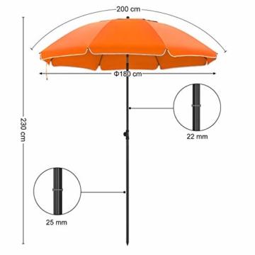 SONGMICS Sonnenschirm, 200 cm, Sonnenschutz, achteckiger Strandschirm aus Polyester, Schirmrippen aus Glasfaser, knickbar, mit Tragetasche, Garten, Balkon, Schwimmbad, Orange GPU65OGV1 - 5