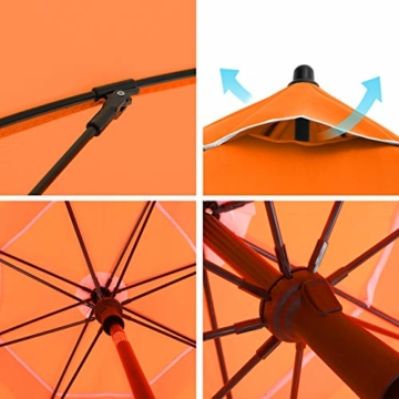 SONGMICS Sonnenschirm, 200 cm, Sonnenschutz, achteckiger Strandschirm aus Polyester, Schirmrippen aus Glasfaser, knickbar, mit Tragetasche, Garten, Balkon, Schwimmbad, Orange GPU65OGV1 - 8