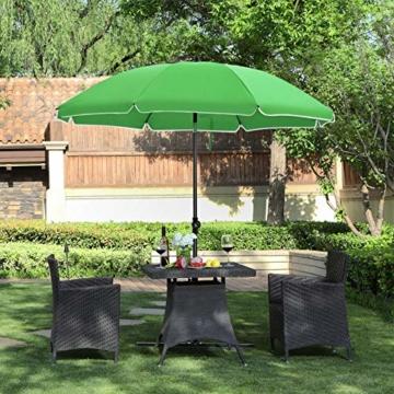 SONGMICS Sonnenschirm, Ø 160 cm, Marktschirm, UV Schutz UPF 50+, Sonnenschutz, achteckiger Gartenschirm aus Polyester, Schirmrippen aus Glasfaser, mit Tragetasche, Grün GPU60GN - 2