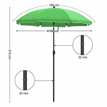 SONGMICS Sonnenschirm, Ø 160 cm, Marktschirm, UV Schutz UPF 50+, Sonnenschutz, achteckiger Gartenschirm aus Polyester, Schirmrippen aus Glasfaser, mit Tragetasche, Grün GPU60GN - 3