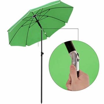 SONGMICS Sonnenschirm, Ø 160 cm, Marktschirm, UV Schutz UPF 50+, Sonnenschutz, achteckiger Gartenschirm aus Polyester, Schirmrippen aus Glasfaser, mit Tragetasche, Grün GPU60GN - 4