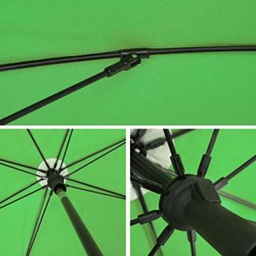 SONGMICS Sonnenschirm, Ø 160 cm, Marktschirm, UV Schutz UPF 50+, Sonnenschutz, achteckiger Gartenschirm aus Polyester, Schirmrippen aus Glasfaser, mit Tragetasche, Grün GPU60GN - 6