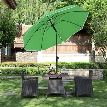 SONGMICS Sonnenschirm, Ø 160 cm, Marktschirm, UV Schutz UPF 50+, Sonnenschutz, achteckiger Gartenschirm aus Polyester, Schirmrippen aus Glasfaser, mit Tragetasche, Grün GPU60GN - 8