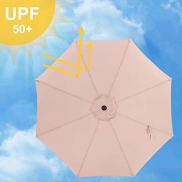 SONGMICS Sonnenschirm, Ø 300 cm, Marktschirm, UV-Schutz UPF 50+, Gartenschirm, Terrassenschirm, Sonnenschutz, mit Kurbel, ohne Ständer, Outdoor, für Garten, Balkon und Terrasse, Taupe GPU30BRV1 - 2