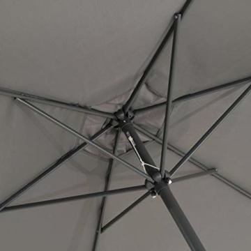 Sonnenschirm Ø 290cm Stahl Gestell UV Schutz UPF 50+ Gartenschirm Marktschirm mit Kurbel und neigbar Schirmstoff anthrazit wasser- und schmutzabweisend Höhe 230 cm - 3