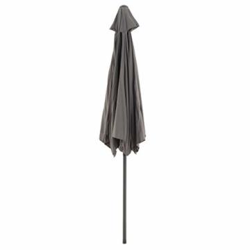 Sonnenschirm Ø 290cm Stahl Gestell UV Schutz UPF 50+ Gartenschirm Marktschirm mit Kurbel und neigbar Schirmstoff anthrazit wasser- und schmutzabweisend Höhe 230 cm - 4