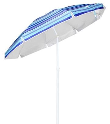 Spetebo Alu Sonnenschirm mit 50+ UV Schutz - knickbarer Schirm mit 200 cm Durchmesser - Strandschirm mit stabilem Erdspieß Ø 3 cm - 1