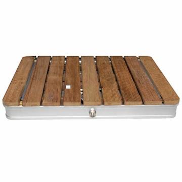 @tec Gartendusche Aussendusche aus massivem Teak-Holz, Mobile Bodendusche Campingdusche, Sauna- & Pool-Dusche mit Bodenplatte für den Garten, Outdoor Shower - eckig 70x55cm - 3